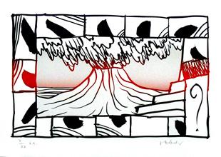 Pierre alechinsky lithographie originale de 2003 le volcan for Alechinsky lithographie