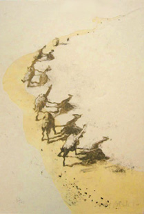 BARCELO : camels, lithograph