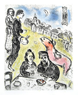 CHAGALL : le repas, etching