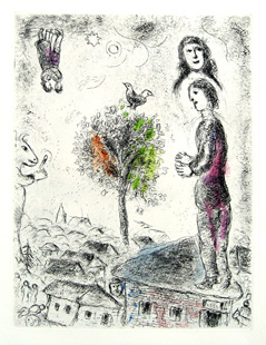 CHAGALL : couple, etching
