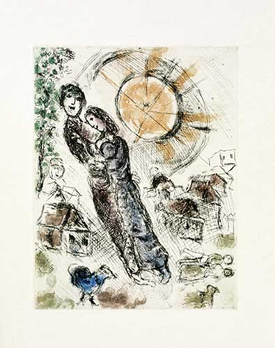 CHAGALL : gravure-chagall-amoureux