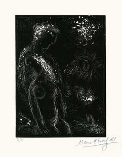 CHAGALL : chagall-lovers-linocut