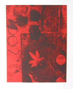 CLAVE : feuille rouge lithographie
