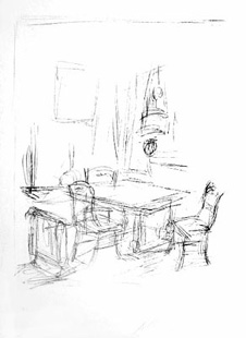 GIACOMETTI : Interieur, lithographie
