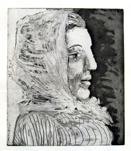PICASSO : femme, etching