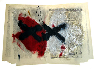 TAPIES : matiere et journal, etching