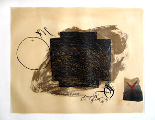 TAPIES : cercle croix et collage, etching