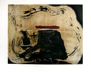 TAPIES : pied et trait rouge, engraving