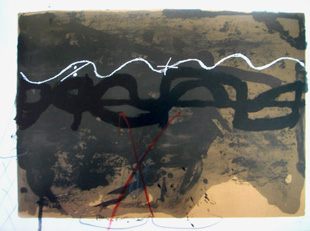 TAPIES : nocturn matinal 1, lithograph with drawing