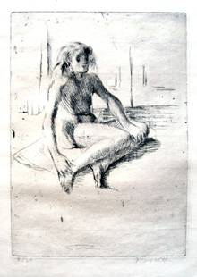 VILLON : Minne assise a terre, etching